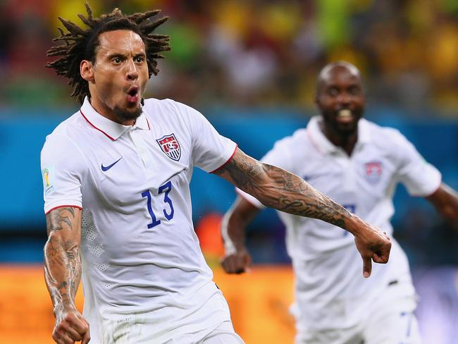 Jermaine Jones of the United States celebrates after scoring his team's equaliser against Portugal.