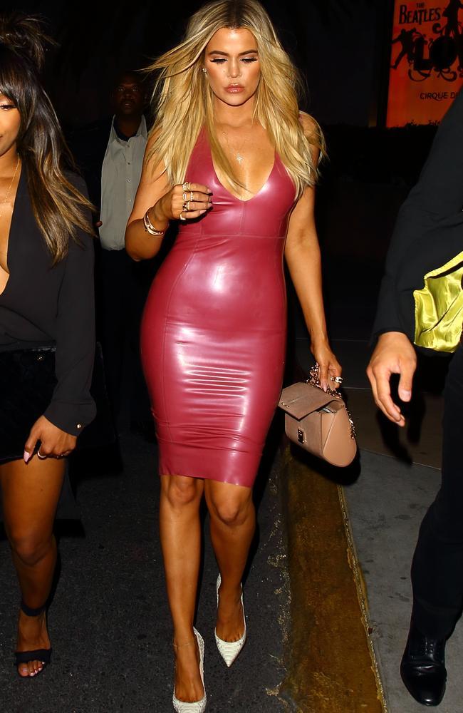 Khloe Kardashian Stuns In Figure Hugging Latex Dress