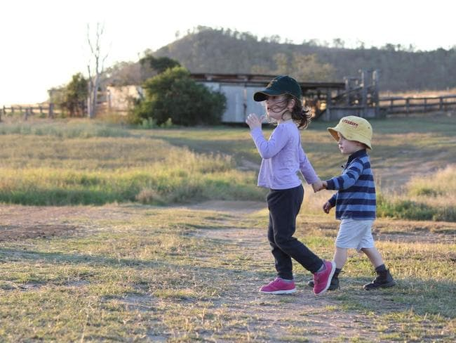"Ben, 3, and Alex, 5, on their property ""Hillview"". Picture: Philippa Rea"