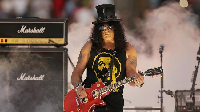 Not happy...People were asking why Slash and Sarah McLeod didn't perform together. Picture: Mark Metcalfe/Getty Images