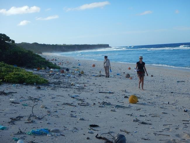 IMAS researcher Dr Jennifer Lavers with plastic debris on East Beach, Henderson Island.