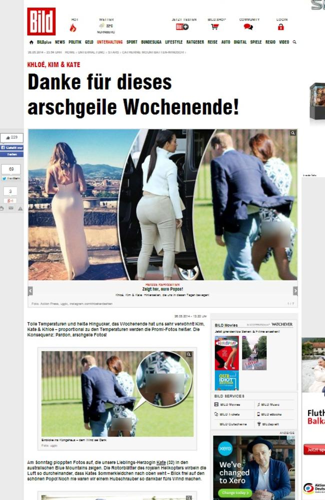 Offensive: Royalists angry after a German tabloid published a picture of her bottom. Picture: Bild