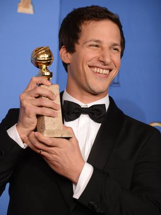 Samberg poses with his Golden Globe award for his work on  <i>Brooklyn Nine-Nine</i>. Picture: AP
