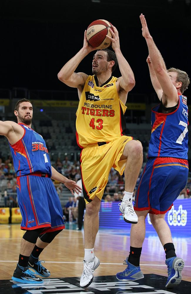Chris Goulding shoots for the Melbourne Tigers. Picture: George Salpigtidis