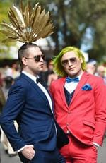 Guy Wlliams in a hat by Peggy Lea with his mate Tony Star at the 2016 Melbourne Cup. Picture: Jake Nowakowski