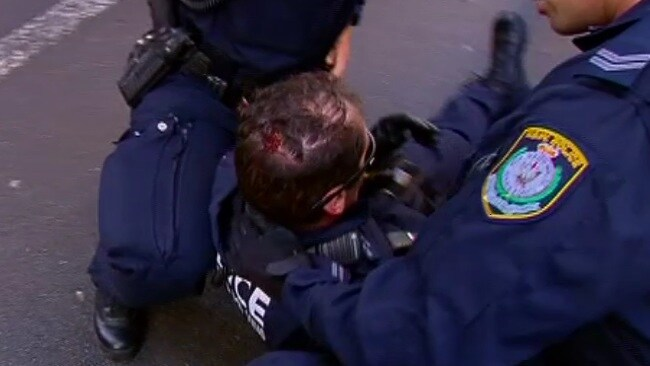 Police officer injured in Sydney CBD protest. Picture: Channel 10
