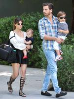 Kourtney Kardashian, Scott Disick and their kids, leave 'Mermelade' cafe in Calabasas where they met Kim and Kris Jenner for lunch after church on April 7, 2013. Picture: Splash