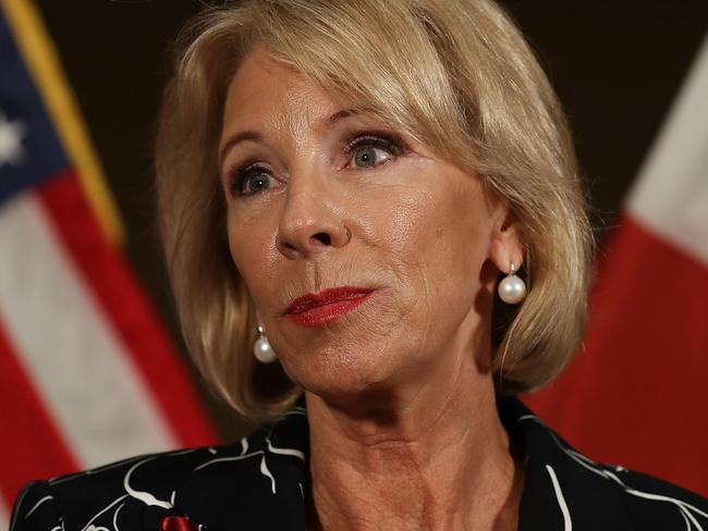 White House officials declared themselves 'alarmed' by a shocking 60 Minutes performance from Education Secretary Betsy DeVos. Picture: Joe Raedle/Getty Images/AFP