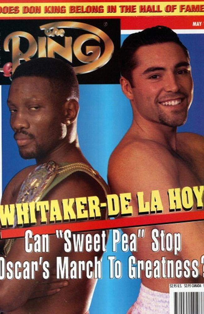 MAY 1997: Ring Magazine Cover — Pernell Whitaker and Oscar De La Hoya on the cover. (Phot