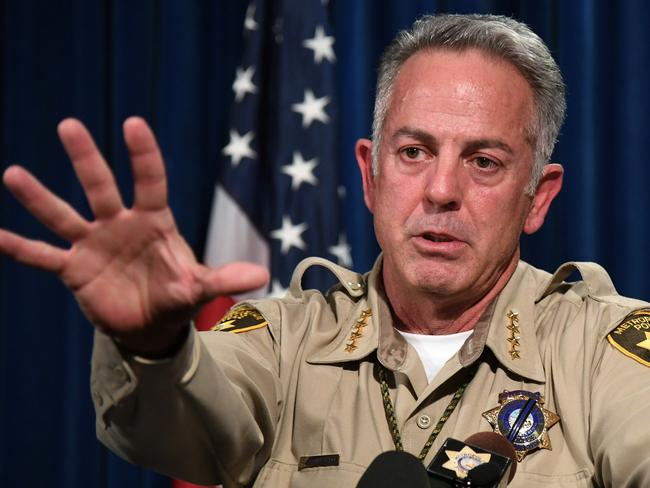 Clark County Sheriff Joe Lombardo speaks at the Las Vegas Metropolitan Police Department headquarters on Vegas. Picture: AFP/Getty