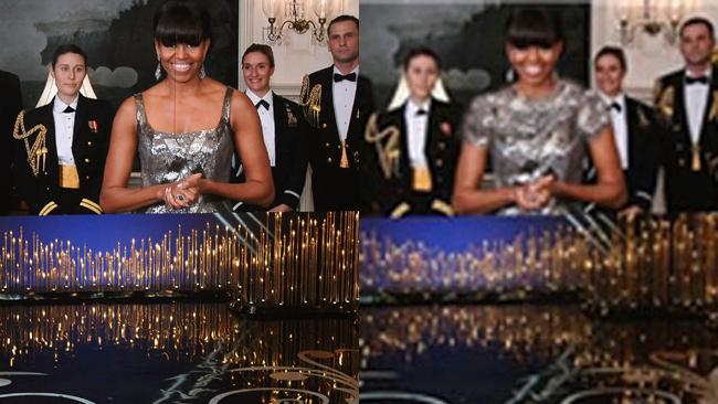 Iran ... TV censors photoshopped Michelle Obama's Oscars dress so it covered her chest and shoulders.