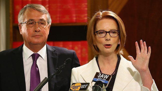 Julia Gillard and Wayne Swan announcing plans to raise the Medicare levy to help fund disability insurance. Picture: Getty Images