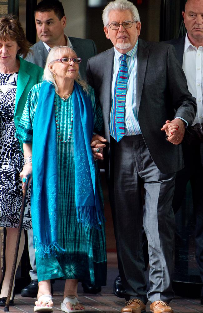 Assault charges ... Rolf Harris with his wife Alwen Hughes after being found guilty of 12 indecent assault charges at Southwark Crown Court on June 30, 2014. Picture: Ben A Pruchnie/Getty Images