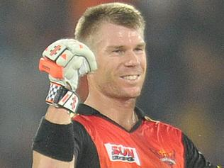 Sunrisers Hyderabad captain David warner gestures after winning the 2017 Indian Premier League (IPL) Twenty20 cricket match between Sunrisers Hyderabad and Gujarat Lions at the Rajiv Gandhi International Cricket Stadium in Hyderabad on April 9, 2017. IMAGE RESTRICTED TO EDITORIAL USE - STRICTLY NO COMMERCIAL USE----- / GETTYOUT / AFP PHOTO / NOAH SEELAM / ----IMAGE RESTRICTED TO EDITORIAL USE - STRICTLY NO COMMERCIAL USE----- / GETTYOUT