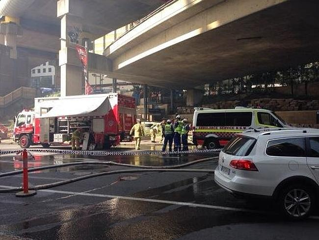 Twitter photo from Emma Renwick of Crews on standby at Barangaroo South building site fire.