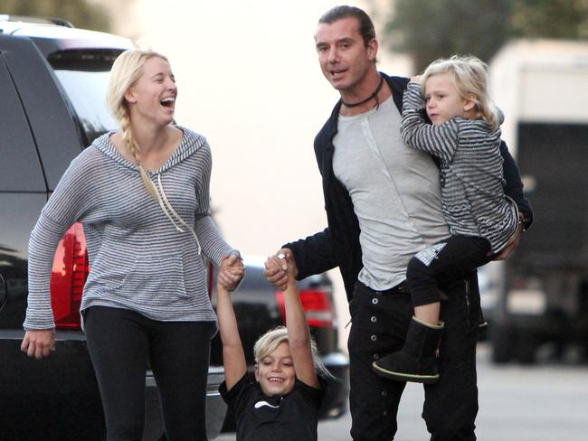 Nanny Mindy Mann with Gavin Rossdale and his two boys Kingston and Zuma. Picture: Splash
