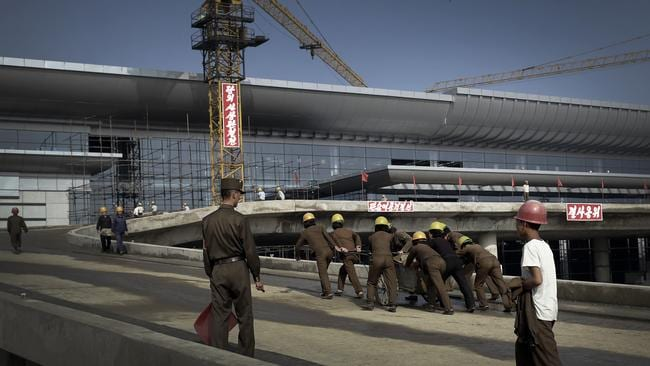 Construction work is underway at the new Pyongyang International airport terminal.