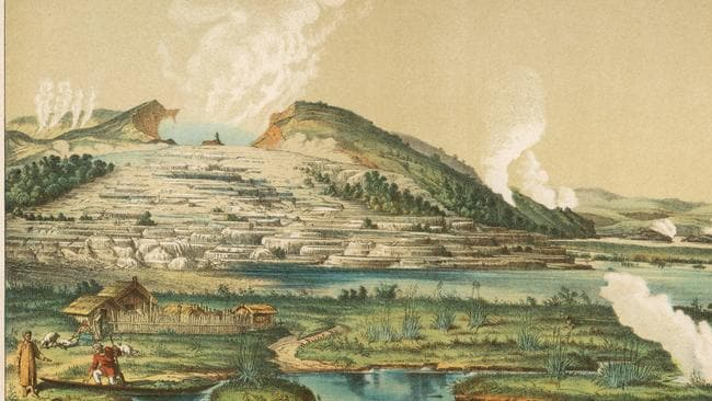 Pink and White Terraces by Lake Rotomahana, North Island, New Zealand Date: circa 1866 Picture: Alamy