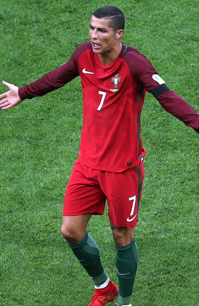 Portugal's forward Cristiano Ronaldo reacts as he leaves the pitch.