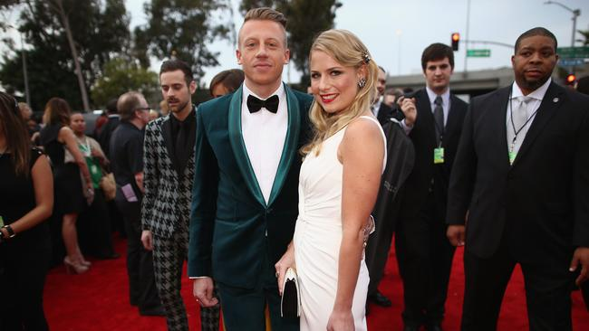 Ben Haggerty (aka Macklemore) and Tricia Davis last year. Picture: Christopher Polk/Getty Images for NARAS