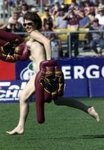 <p>Streaker running at Brisbane Broncos vs Sydney Roosters NRL match at ANZ Stadium 05 Aug 2001.</p>