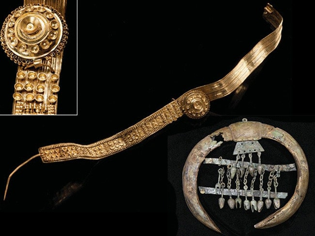 A golden strip earring with a detail of its filigree inset and, bottom right, the mounted boars' tusks with bronze bells which probably adorned the chest of a horse. Pictures: Krausse et al