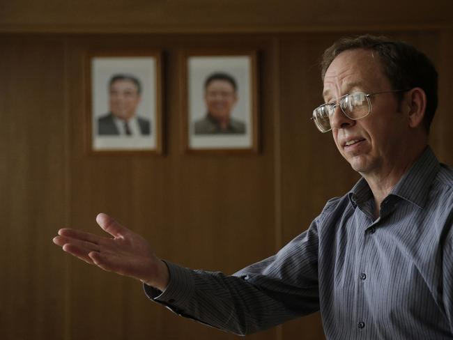 Plea ... Jeffrey Fowle, an American detained in North Korea, speaks to the media in Pyongyang, North Korea. Picture: AP
