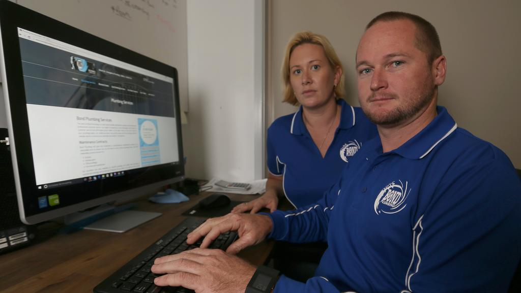 Amanda Bond and Ryan Bond of Bond Plumbing are victims of online scammers who used 'ransomware' to hack into their computer and encrypt their data. Picture: Regi Varghese