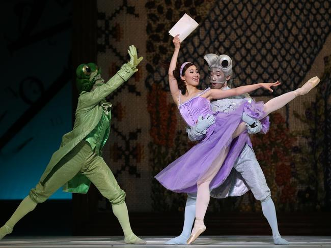 The Frog (Shaun Andrews), Alice (Ako Kondo) and The Fish (Lucien Xu). Picture: Toby Zerna
