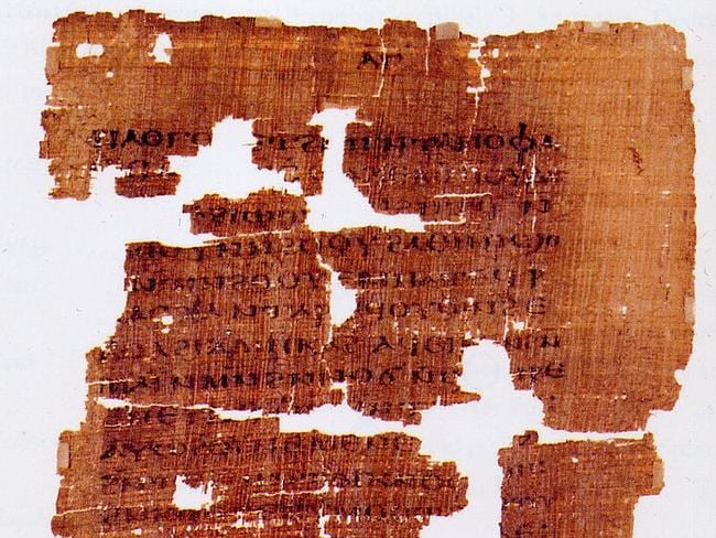 The front page of the Gospel of Judas, one of the banned books of the Bible found among hidden scrolls at Nag Hammadi, Egypt, in 1945.