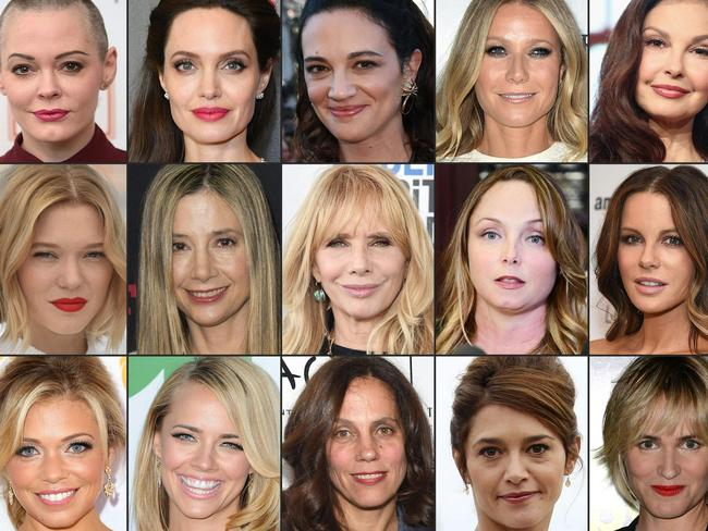 Just some of the women who have spoken out against Harvey Weinstein. Pictured, from top left: Rose McGowan, Angelina Jolie, Asia Argento, Gwyneth Paltrow, Ashley Judd. Middle Row: Lea Seydoux, Mira Sorvino, Rosanna Arquette, Louisette Geiss, Kate Beckinsale. Bottom row: Lauren Sivan, Jessica Barth, Elizabeth Karlsen, Emma De Caunes, Judith Godreche. Picture: AFP PHOTO / GETTY IMAGES