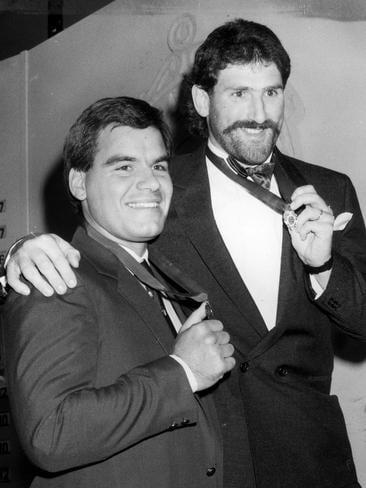 Greg Williams and Hawthorn star Robert Dipierdomenico share the 1986 Brownlow Medal.