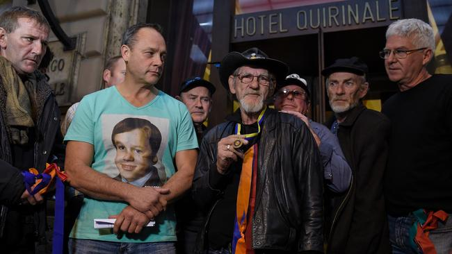 Paul Levey, Peter Blenkiron, Paul Auchettl, Gordon Hill, Tony Wardley, Garry Sculey and Phil Nagle, survivors of child abuse by Catholic clergy in Australia, will meet with George Pell in Rome tomorrow. Picture: Andreas Solaro/AFP