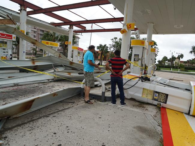 Hurricane Irma destroyed a petrol station in Melbourne, Florida. Picture: Michael Lewis