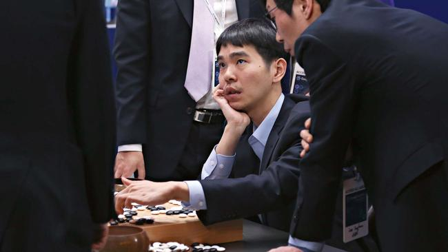 Go champion Lee Se-Dol plays the Google-owned AlphaGo computer. Picture: Google