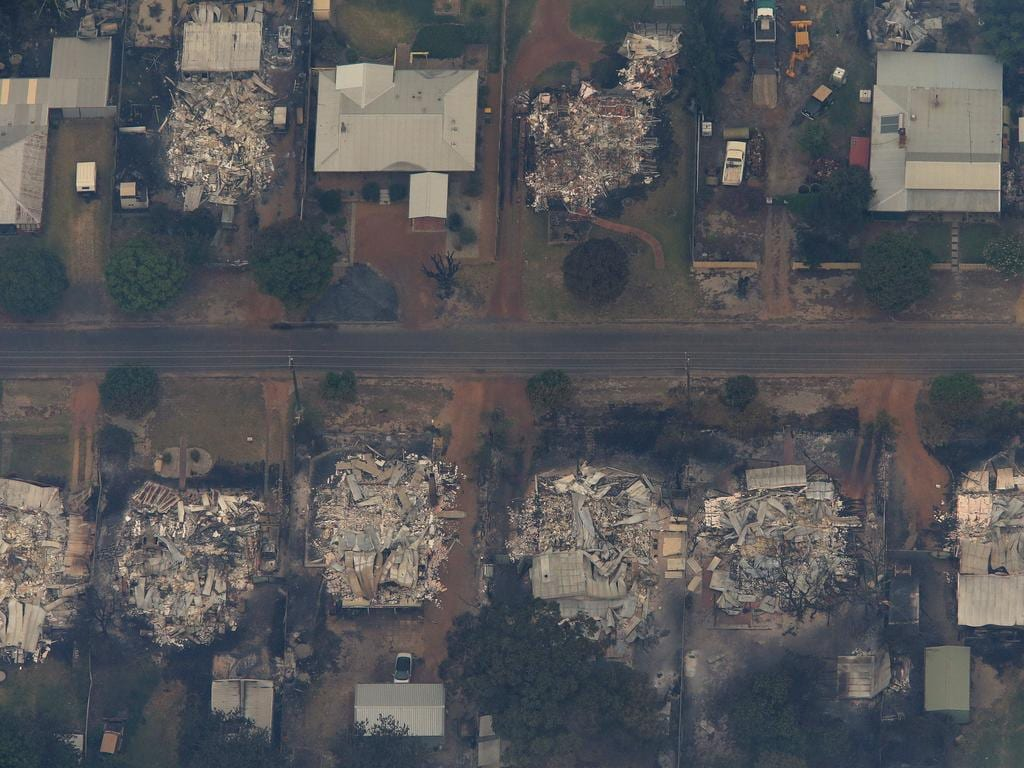 Aerial photos of the devastated township of Yarloop after a bushfire tore through it on Thursday night. Picture: Colin Murty