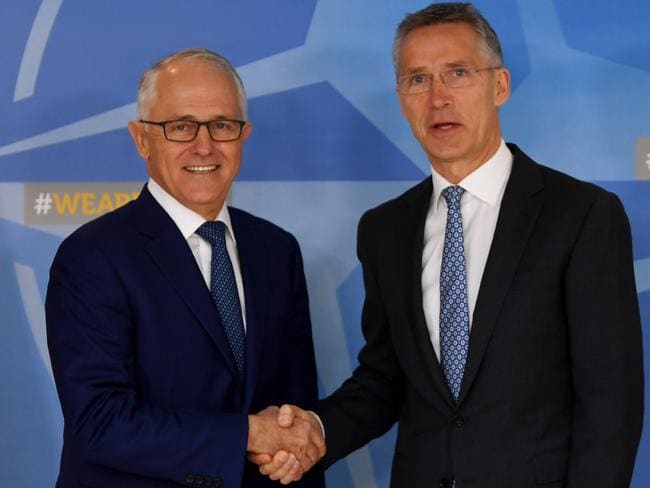 Australian Prime Minister Malcolm Turnbull meets with Secretary-general of NATO Jens Stoltenberg at NATO headquarters in Brussels. Picture: AAP