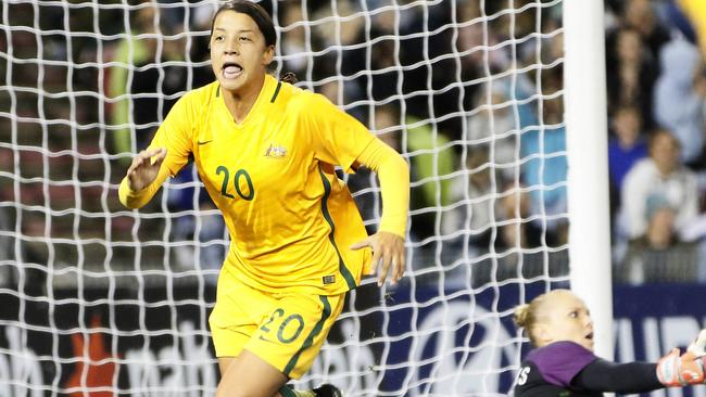 Sam Kerr of the Matildas celebrates a second half goal during the second match of the two-match International Series between the Matildas and Brazil at McDonald Jones Stadium, Newcastle, Tuesday, September 19, 2017. (AAP Image/Darren Pateman) NO ARCHIVING, EDITORIAL USE ONLY
