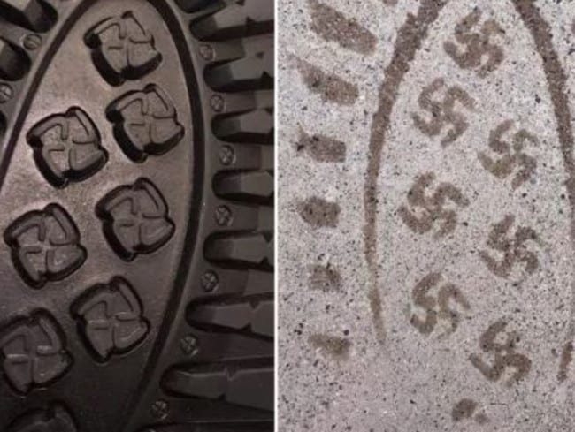 Boots whose soles left swastika prints have been pulled from sale. Picture: Reddit