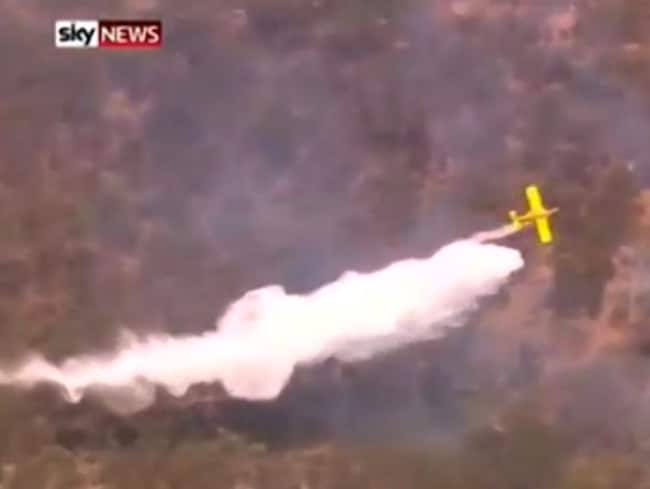 Fighting back ... South Australia's bushfires are trying to be contained from the air. Picture: Sky News