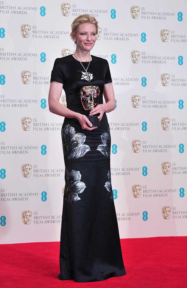 Cate Blanchett chose Alexander McQueen floral embossed gown for the BAFTAs. Source: AFP