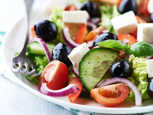 A Mediterranean-style salad with feta and olives is a great low-carb option. Picture: iStock