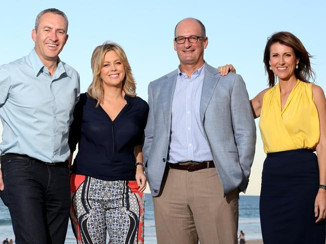 Channel 7's  <i>Sunrise</i> team: Mark Beretta, Samantha Armytage, David Koch and Natalie Barr. Picture: Scott Fletcher