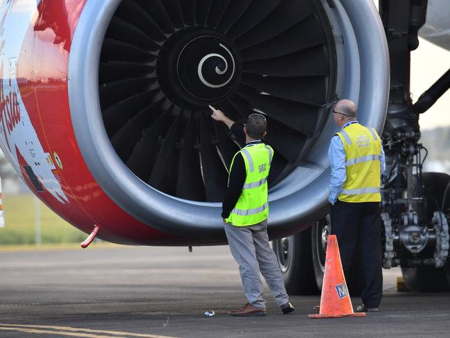 A bird strike caused engine problems that forced an AirAsia flight to make an emergency landing in Brisbane in July. Picture: AAP