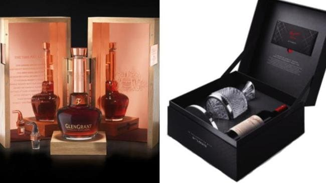 There is some very fancy booze too including a Glen Grant 50 year old whiskey and the Penfolds v12 Grange with St Louis Crystal decanter. Source: Supplied