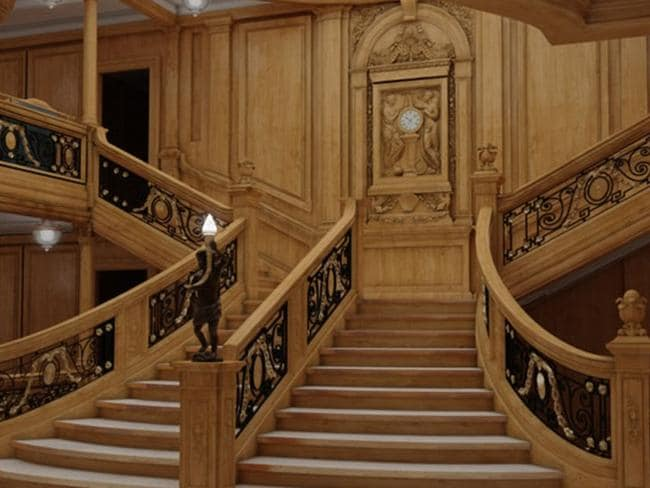 Spot the difference? How the grand staircase will look on Titanic II. Picture: Bluestarline.com.au