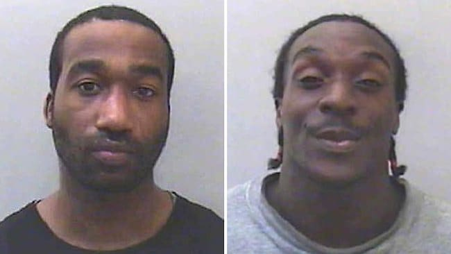 A combination photo shows custody photographs of British men Kevin Liverpool (L) and Junior Bradshaw (R) who were found guilty of conspiracy to rob and murder British singer Joss Stone.
