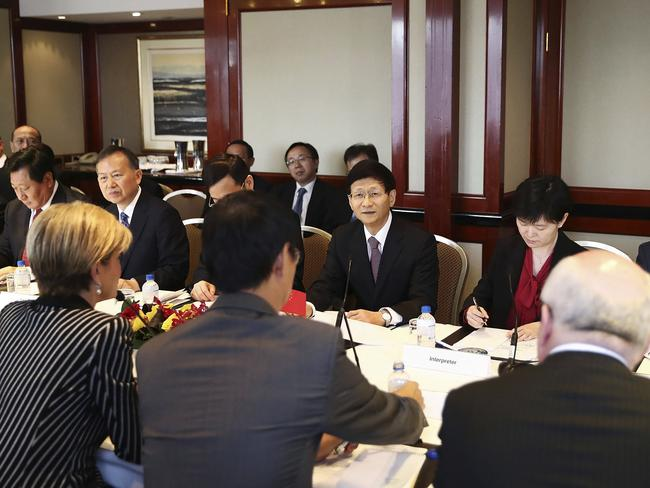 Australian Minister for Foreign Affairs Julie Bishop, bottom left, and China's Central Commission on Political and Legal Affairs, Secretary Meng Jianzhu, centre, sit down at the inaugural Australia-China High-level Security Dialogue in Sydney, Friday, April 21, 2017. Picture: AP.