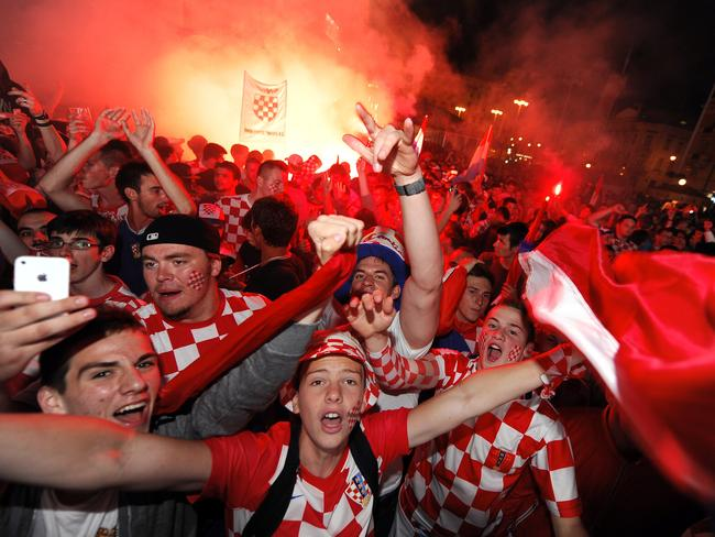 Croatian football fans rdo love a flair or two.