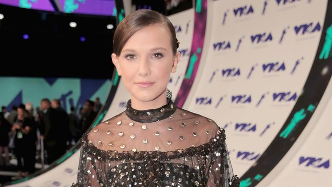 Millie Bobby Brown looks a little different from her Stranger Things character in real life. Picture: Getty